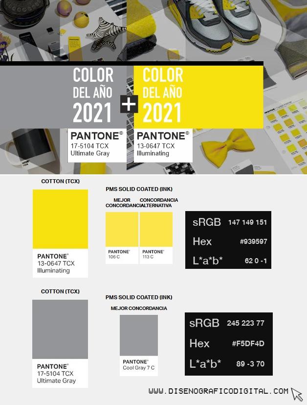 Referencias colores del año para diseño gráfico digital