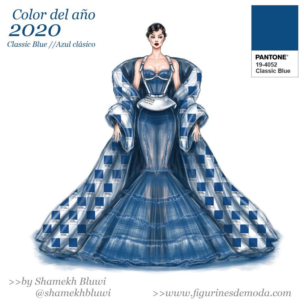 El color del año 2020 en un figurín de moda de Shamekh Bluwi