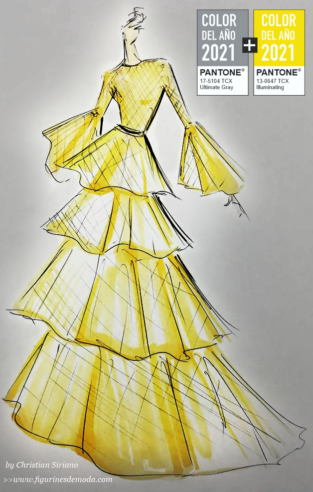 Figurín de moda de Siriano con el amarillo color del año 2021