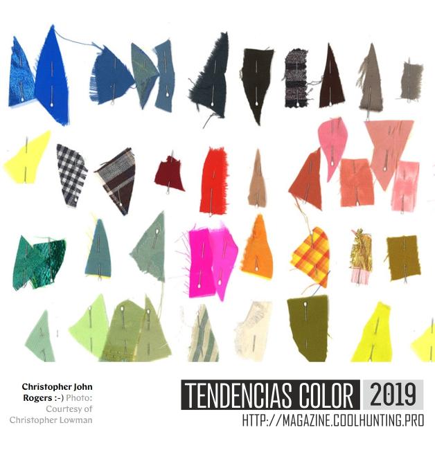 Muestras de tejido con los colores del 2019