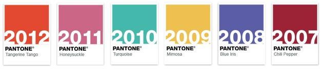 Los colores del año previamente pronosticados por PANTONE