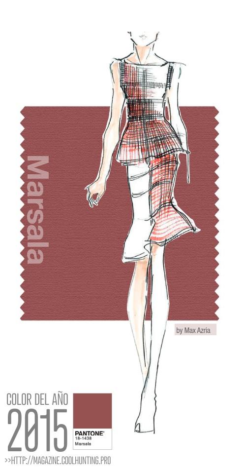 Figurín o diseño de moda con el color del año 2015 - Marsala -