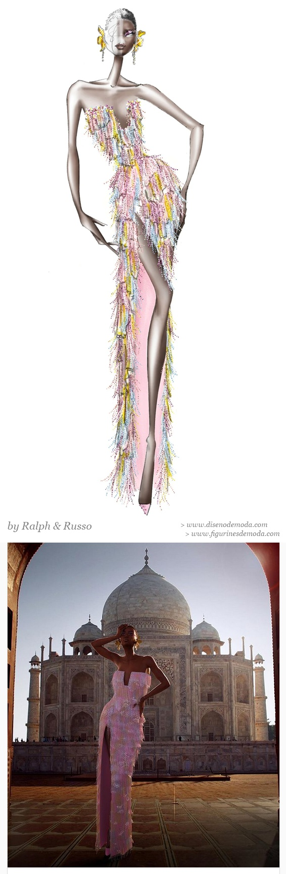 Figurín de moda original y su presentación en avatar virtual delante del Taj Mahal