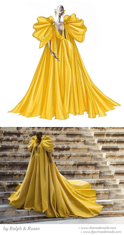 Figurín de moda original del vestido y Hauli posando