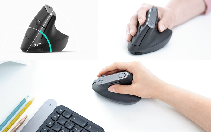 El ratón vertical de Logitech de mejorada ergonomía para diseñadores